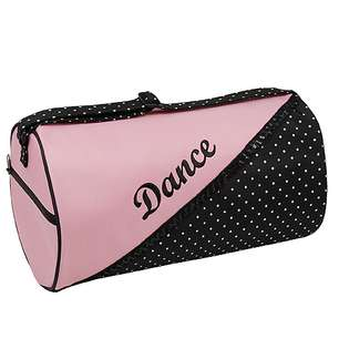 Sassi Designs Black Pink Dotted Boutique Small Roll Dance Duffel Bag