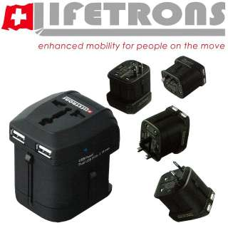 Lifetrons Worldwide Power Adapter 2 USB Ports Fast Charge Made for