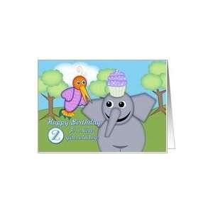 Happy Birthday 2 Year Old Boy, Whimsical Bird, Elephant and Cupcake