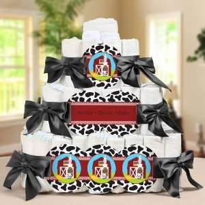 Animals Personalized Square   3 Tier Diaper Cake   Baby Shower Gift