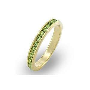 Crystal Bands   14k Gold Plated Peridot Green Swarovski Crystal Band