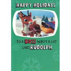 Greeting Card Christmas Rudolph Red nose Reindeer To The Boss Happy