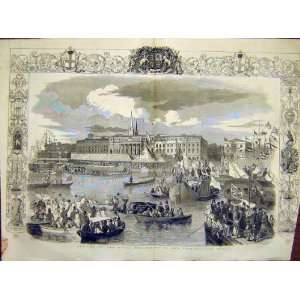 Custom House Quay Royal Procession Boat Old Print 1849