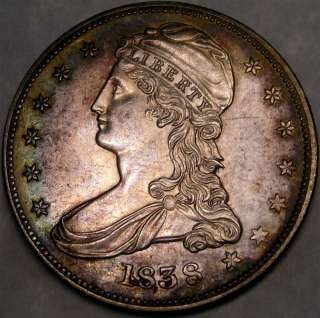 1838 CAPPED BUST REEDED EDGE SILVER HALF DOLLAR HIGH QUALITY W