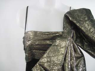 RAUL BLANCO EVENING Black Velvet Gold Bow Long Dress