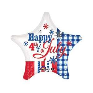 Star Shaped Fourth 4th of July 19 Mylar Foil Balloon Patriotic Party