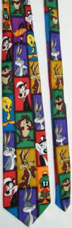 LOONEY TUNES MANIA CARTOON BUGS BUNNY TAZ TWEETY BIRD MARVIN NECK TIE