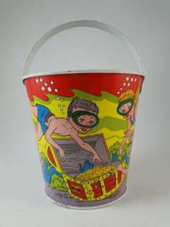 Vintage Ohio Art Tin Sand Pail Pirate Treasure Chest Diving Children