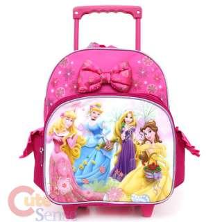 Disney Princess w/Tangled School Roller Backpack 12 Medium Bag w/Rose