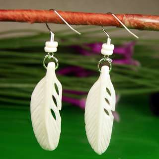 Carved Yak Bone Feather Plume Handmade Pierced Earrings