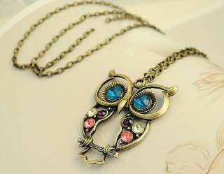 Retro Bronze Rhinestone Owl Pendant Necklace NEW
