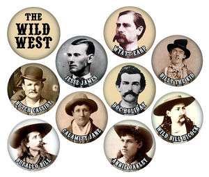THE WILD WEST BUTTONS   10 PINS   cowboys/outlaws