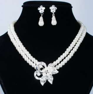 W18660 Flower Pendant 2Rows White Imitate Pearl Crystal Necklace