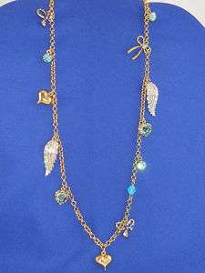 Betsey Johnson Snow Angel Wings Long Charm Necklace NWT