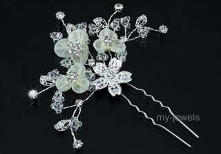 Bridal Ivory Satin Crystal Handmade Hair Pin Clip T1374