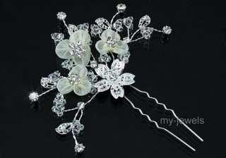 Bridal Ivory Satin Crystal Handmade Hair Pin Clip T1374