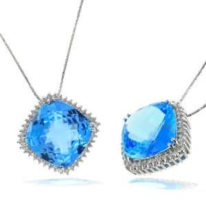 Ladies Blue Topaz White Gold Pendant Affordable Jewelry