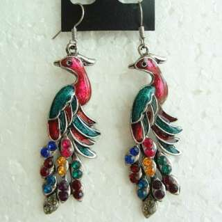VINTAGE SWAROVSKI CRYSTAL DANGLE PEACOCK HOOK EARRINGS 1649