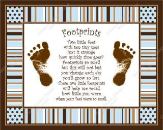 Blue & Brown Stripe Max Babys Footprints with Poem
