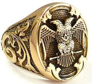 DOUBLE HEADED EAGLE EMPIRE GOLD BRASS RING 12.5   BYZANTINE ROMAN