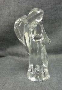 Crystal art glass Nativity Scene Musical ANGEL WITH HORN 6
