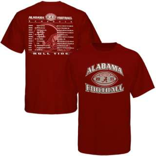 Alabama Crimson Tide 2011 Football Schedule T Shirt   Crimson
