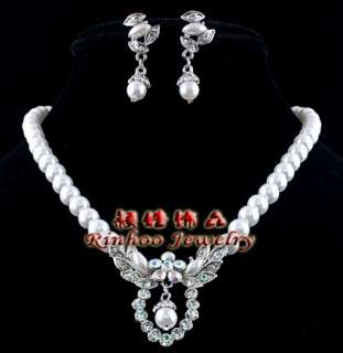 1set frugal plastic pearl necklace earrings for wedding