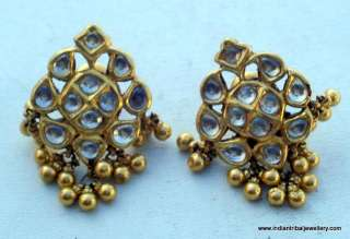 22k gold earrings ear stud kundan jewelry antique old