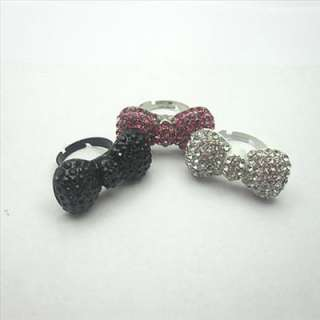 3pcs hellokitty pink & silver & black crystal bow ring rings gift