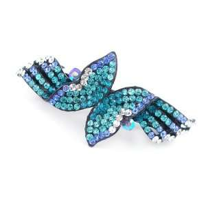 Blue Wings Czech Crystal Rhinestone Hair Barrette Beauty