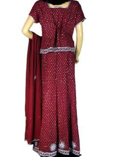 Maroon Party Wear Indian Dress Lehenga Lengha Choli XL