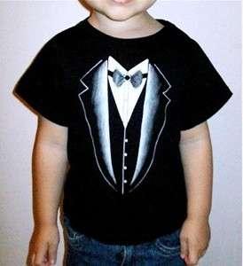 Cute Funny Toddler Tuxedo Print Black T Shirt, 18M 2T