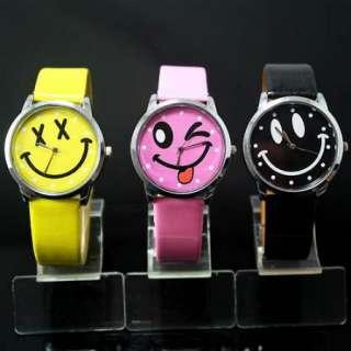 3PC design Smile Face Girls Boys Kids Wrist Watch,