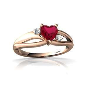 14k Rose Gold Heart Created Ruby Ring Size 5 Jewelry