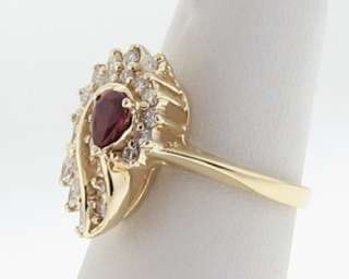 Estate Natural Ruby Diamonds Solid 14k Yellow Gold Cocktail Ring