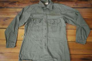 Vintage 1970s Vietnam Era US ARMY OD Green Military Cotton Field SHIRT