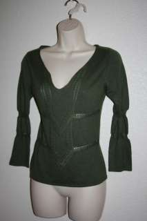 Women MAX STUDIO Sweater Green XSmall CASHMERE Soy Bean Top Shirt