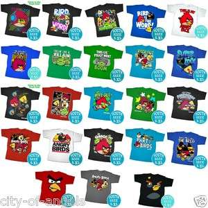Angry Birds T Shirt Youth kids Size SM M L XL Official Licensed Funny