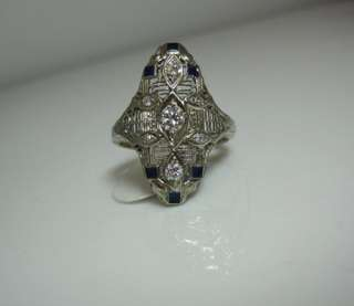 VINTAGE ANTIQUE ART DECO 14K WHITE GOLD FILIGREE DIAMOND BLUE ENAMEL