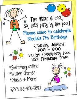 Personalized POOL PARTY Birthday Invitations and Cards