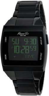 Kenneth Cole Watch KC3927 Mens Black Stainless Steel Green Touch