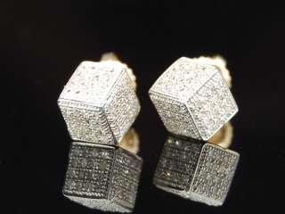 MENS LADIES YELLOW GOLD DIAMOND 3D CUBE STUD EARRINGS
