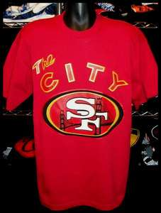 SF San Francisco 49ers Warriors The City Mix T shirt Jersey Bay Area L
