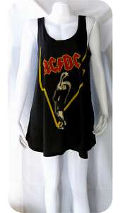 AC/DC Heavy Metal Rock Band WOMEN T SHIRT DRESS TOP M L