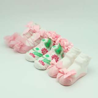 US 3 Pairs New Infant Baby Girls Bow Flower Cute Dance Shoes Socks
