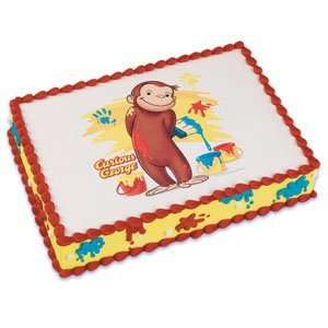 Cute Curious George Monkey Edible Cake Image Topper: Toys