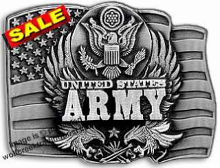 LAST ONE ARMY BUCKLE EAGLE INSIGNIA MILITARY GIFT CLOSE OUT