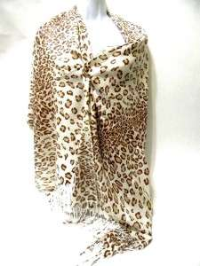 Brown White Cheetah Leopard Print Design Fashion Long pashmina Scarf
