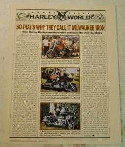 Harley Davidson Motorcycle 1991 Enthusiast Mag. Article