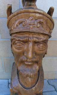 Antique Wood Carved Italy HUGE Romanian Head 22
